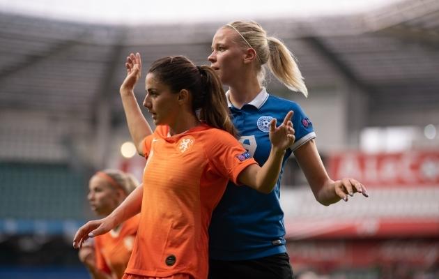 30. augustil A. Le Coq Arenal peetud EM-valikmängus kaotas Eesti naiskond valitsevale Euroopa meistrile ja MM-hõbedale Hollandile 0:7. Foto: Liisi Troska / jalgpall.ee