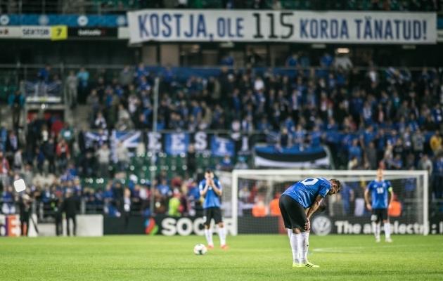 Eesti koondis kaotas Valgevenele 90+2. minuti väravast. Foto: Brit Maria Tael