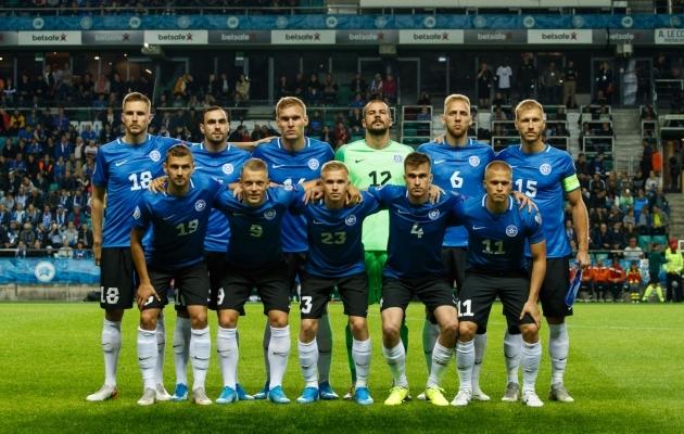 Eesti koondise algkoosseis viimatises kohtumises Hollandi vastu. Foto: Oliver Tsupsman