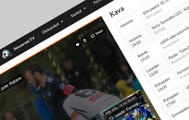 Soccernet.ee avas oma TV-keskkonna