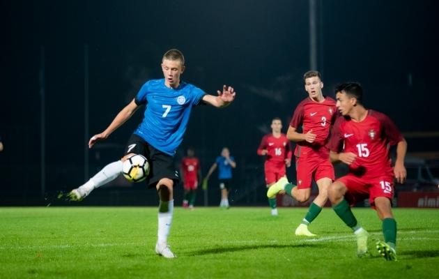 Eesti U17 koondis kaotas Portugalile 0:2. Foto: Liisi Troska / jalgpall.ee