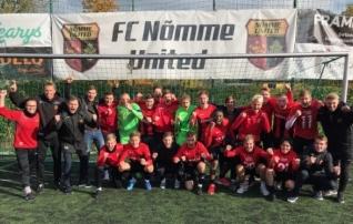 Nõmme United jäi võiduta, aga tagas tänu Hiiult tulnud abile ikkagi Esiliiga B tiitli  (video võidutantsust!)
