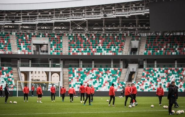 Valgevene koondise eilne trenn Dinamo staadionil Minskis. Foto: Jana Pipar / jalgpall.ee