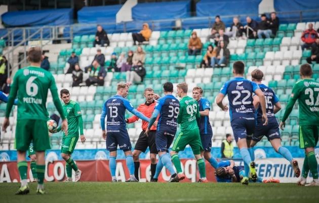 FCI Levadia - FC Kuressaare kohtumise tulised sündmused. Foto: Jana Pipar / jalgpall.ee