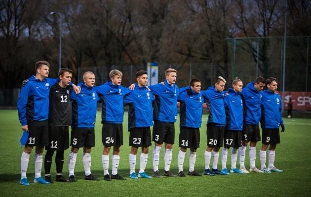 Eelmine U19 koondis sügisel Venemaa vastu. Foto: Jana Pipar / jalgpall.ee