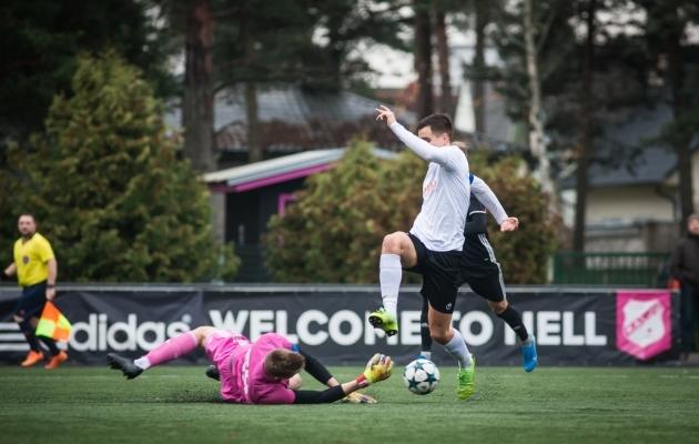 Nõmme klubide duellis jäi peale United ning jättis sellega Kalju U21 Esiliigast eemale. Foto: Jana Pipar / jalgpall.ee