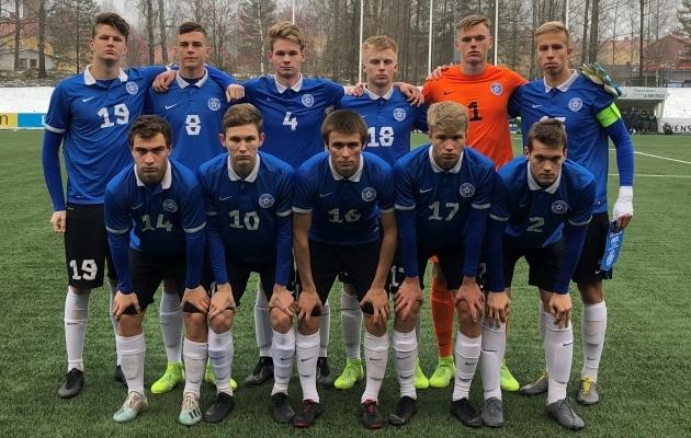Eesti U19 koondise algkoosseis tänases mängus Ukrainaga. Foto: jalgpall.ee