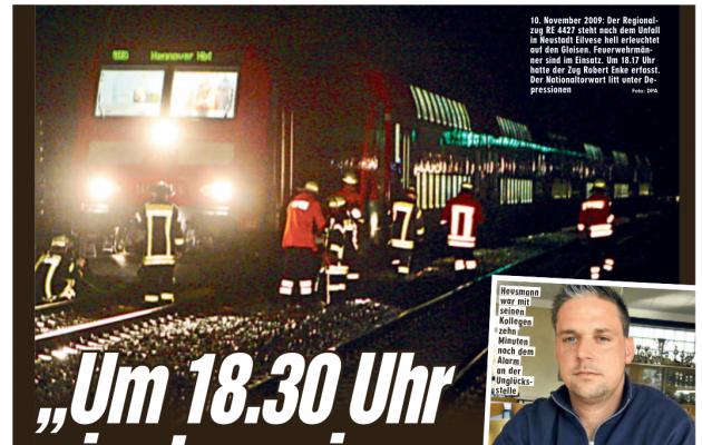 Kümne aasta möödumise puhul meenutas Bild õnnetust 4.-10. novembrini ilmunud lehtedes rohkete külgedega. Esimest korda vaadati neile tundidele otsa näiteks tol päeval tööl olnud päästja Florian Heusmanni (all paremal) pilgu läbi. Foto: Bild (kuvatõmmis)