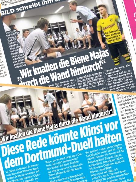 """Eelmisel reedel avaldasid ajalehed Bild (üleval) ja BZ väljamõeldud kõne, mille Klinsmann on mängijatele Berliinis enne kohtumist Dortumdiga pidada võiks. Mõlemad väljaanded on illustreeriva fotona kasutanud kaadrit dokumentaalfilmist """"Deutschland. Ein Sommermärchen"""", kus Klinsmann enne veerandfinaalmängu Argentinaga kõnet peab. Foto: Andres Must / Bild"""