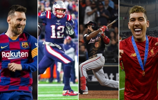 Lionel Messi, Tom Brady, Anthony Rendon ja Roberto Firmino. Fotod: Liverpooli, FC Barcelona, Washington Nationalsi ja New England Patriotsi Twitter