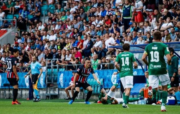 2019. aastal pakkus Eesti klubidest suurima eurosarjaelamuse FC Flora, kes alistas Niši Radnicki (Serbia) ja andis kaks vaprat lahingut Frankfurti Eintrachtile (Saksamaa). Foto: Oliver Tsupsman