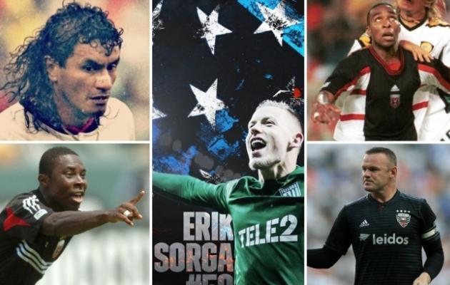 Neli endist D.C. Unitedi staarmängijat ja Erik Sorga (keskel). Foto: D.C. Unitedi ja MLS-i Twitter ning FC Flora