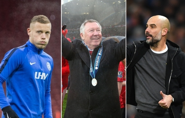 Erik Sorga, Sir Alex Ferguson ja Pep Guardiola. Fotod: Jana Pipar / jalgpall.ee, Manchester Unitedi Twitter, Manchester City Twitter