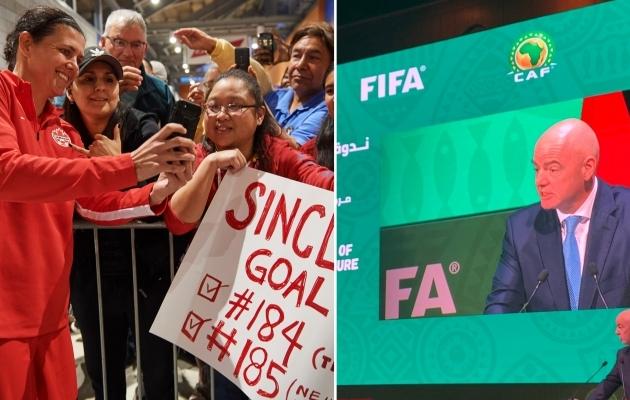 Christine Sinclair (vasakul) ja Gianni Infantino. Foto: FIFA Twitter