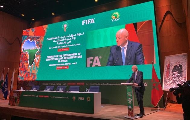 FIFA president Gianni Infantino Aafrika jalgpalliliidu seminaril. Foto: FIFA Twitter