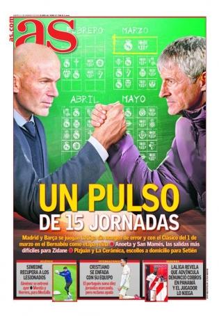 Madridi spordipäevalehe AS tänane esikaas.