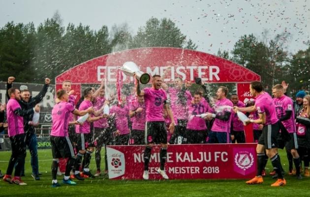 Maximiliano Ugge oli 2018. aastal Eesti meistriks tulnud Nõmme Kalju meeskonna kapten ja kaitsetala. Foto: Gertrud Alatare