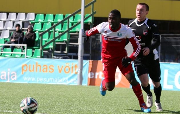 Mboungou (punases) oli Eestis tasemel jalgpallur. Foto: Jana Pipar (arhiiv)