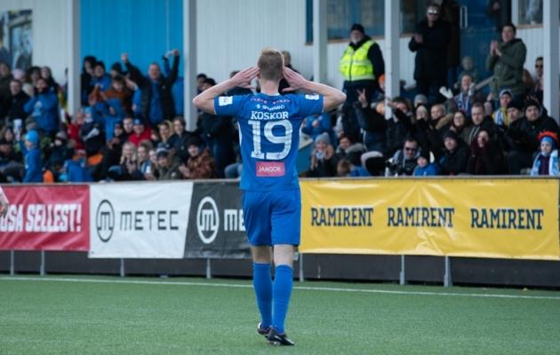 Tristan Koskor võiduväravat tähistamas. Foto: Liisi Troska / jalgpall.ee