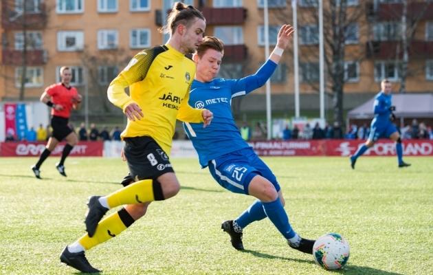 Herol Riiberg mängis hooaja avavoorus Tuleviku eest Tammeka vastu. Foto: Liisi Troska / jalgpall.ee