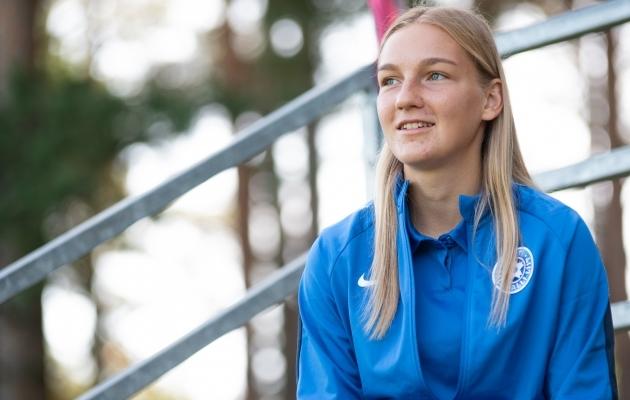 Eesti naiste koondise edurivimängija Lisette Tammik. Foto: Liisi Troska / jalgpall.ee
