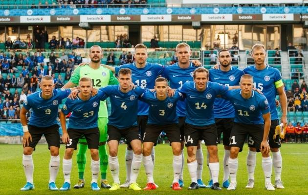 Eesti jalgpallikoondis enne septembris peetud EM-valikmängu Valgevenega. Foto: Oliver Tsupsman