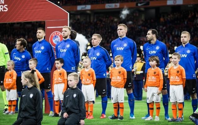 Eesti koondis enne valikmängu Hollandiga. Foto: Jana Pipar / jalgpall.ee