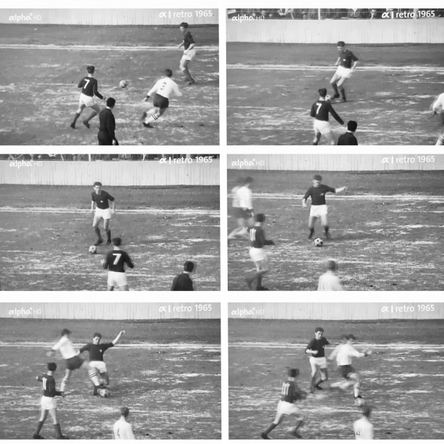 Fotomontaaž Müncheni Bayerni ja Mannheimi 1956. aastal peetud mängust. Televaatajale tuleb pallikaotus sama ootamatult nagu Mannheimi mängijale. Foto: ekraanitõmmis