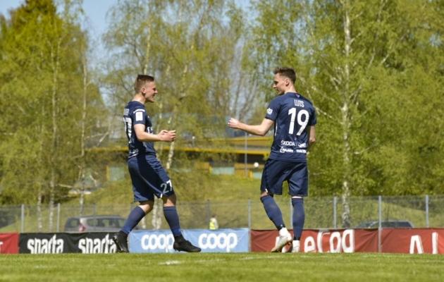 Siim Lutsu selle hooaja saldo on kolm mängu ja kolm väravat. Foto: Liisi Troska / jalgpall.ee