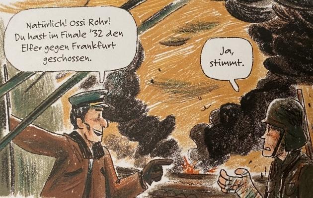 Selliselt kirjeldavad raamatu autorid Rohri idarindelt pääsemist. Foto: Andres Must <p>- Muidugi! Sina oled ju Ossi Rohr! Sina lõid 1932. aastal Frankfurdi vastu penalti!</p><p>- Ja, nii oli.