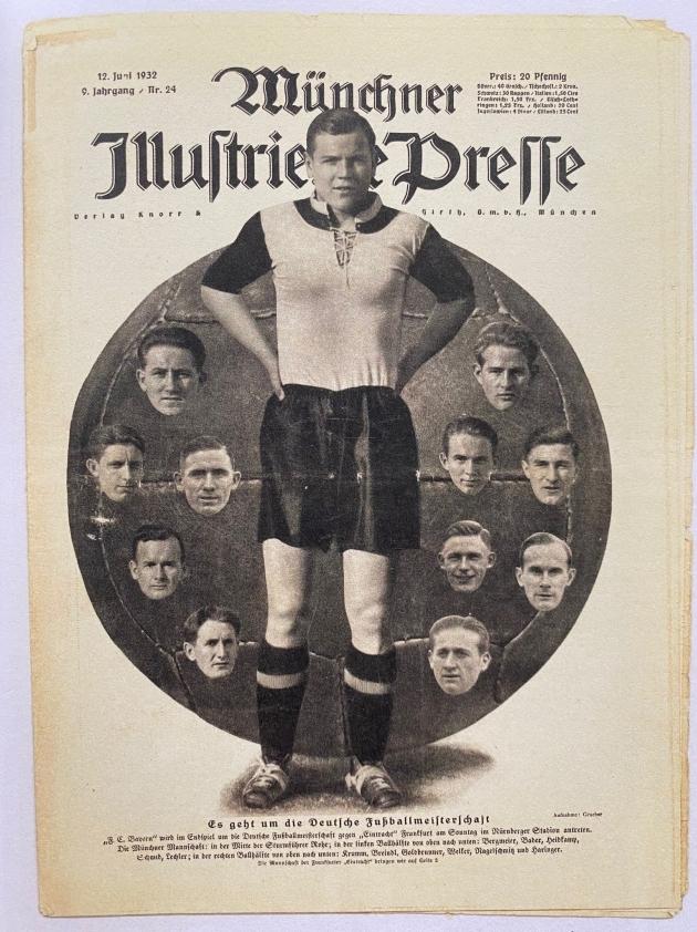 """Pühapäev, 12. juuni 1932. Finaalipäeval avaldas Münchenis ilmunud Illustrierten Presse esikaanel Bayerni foto, kus kohtumise hilisem kangelane Oskar Rohr suurelt välja mängiti. """"Mängus on meistritiitel"""", teatab ajaleht."""