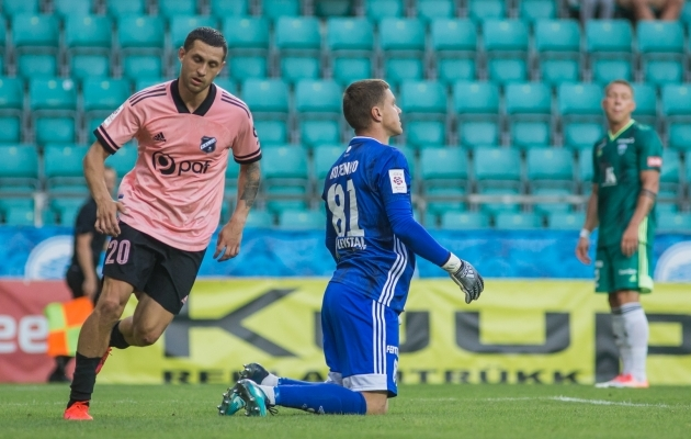 FCI Levadia ei suutnud lõpuni vastu pidada ning Nõmme Kalju vastu ollaks nüüd 12 mängu võiduta. Foto: Jana Pipar / jalgpall.ee