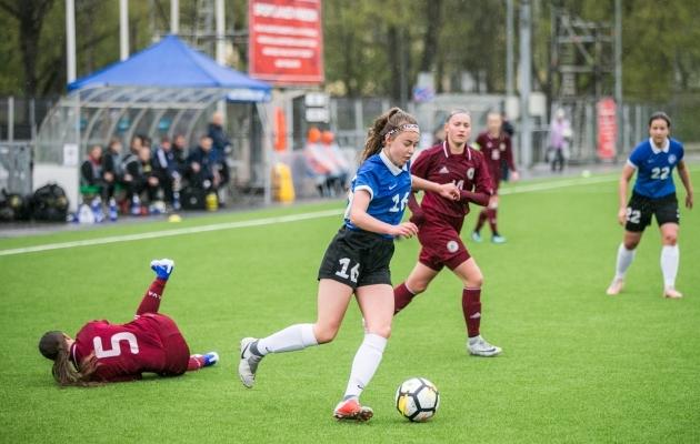 U17 koondis möödunud aastal UEFA sõprusturniiril Lätiga mängimas. Foto: Brit Maria Tael