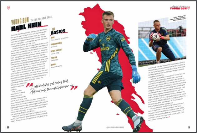 Arsenali mängukava artikkel Karl Jakob Heinast. Foto: kuvatõmmis Arsenali mängukavast