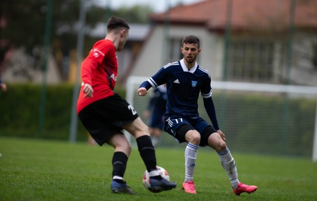 Nikita Brõlin (paremal) kohtumises Nõmme Unitediga. Foto: Raido Kull
