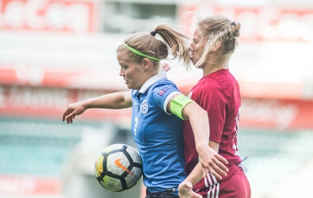 Katrin Loo sõprusmängus Lätiga. Foto: Jana Pipar / jalgpall.ee