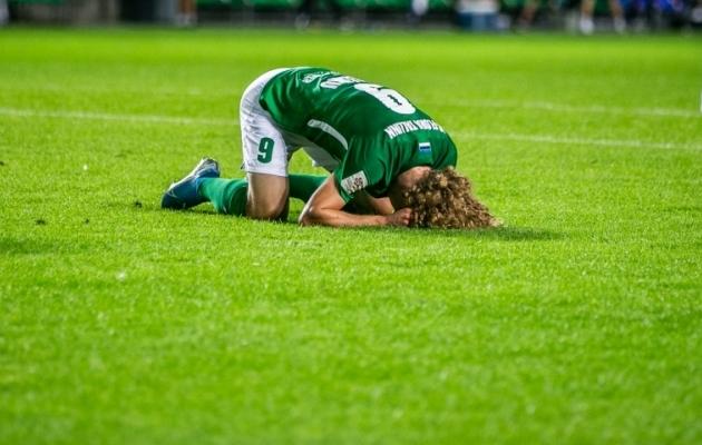 FC Flora ründajal Rauno Allikul oli 90+3. minutil väga hea võimalus meeskonnale võit tuua. Foto: Brit Maria Tael