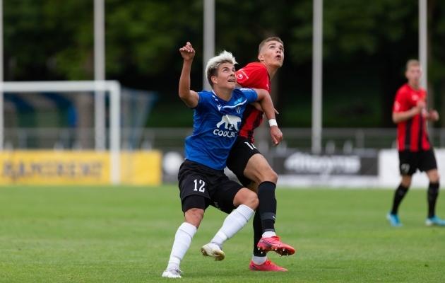Oma esimese värava Kalevi esindusmeeskonnas lõi Kaupmees karikas Nõmme Unitedi vastu. Foto: Raido Kull