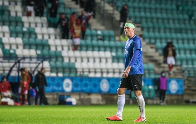 Joonas Tamm lõpetas kohtumise sidemes peaga. Foto: Jana Pipar / jalgpall.ee