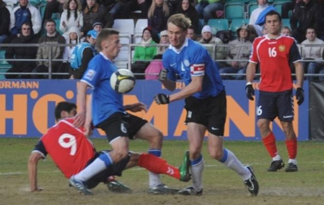 2009. aasta Eesti - Armeenia MM-valikmäng A. Le Coq Arenal, mille Eesti Sander Puri väravast 1:0 võitis. Foto: Heiki Rebane