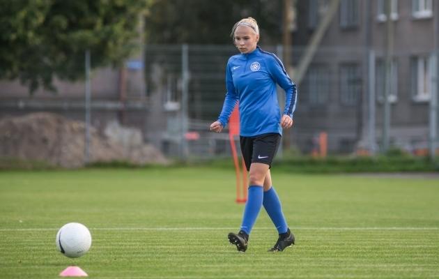 Esimest korda A-koondisesse kutsutud Sandra Liir. Foto: Jana Pipar / jalgpall.ee