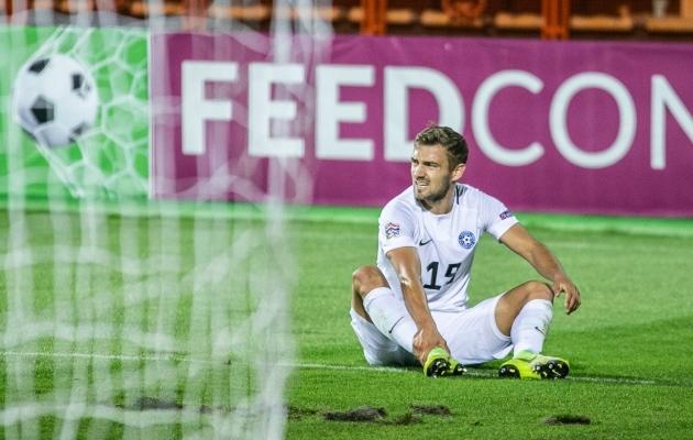 Vigastada sai Kallaste koondises. Reykjaviki ja Floriana vastu asendas teda Marco Lukka. Foto: Brit Maria Tael