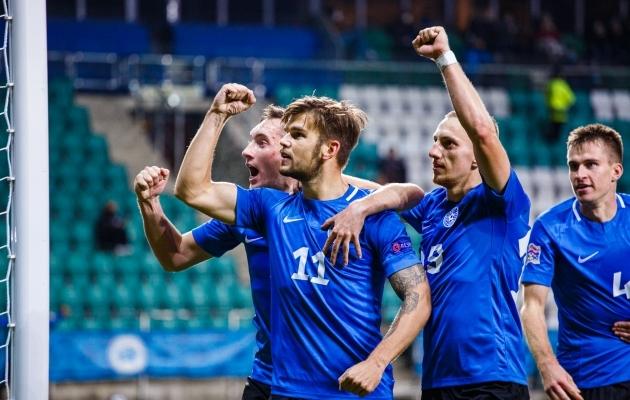 Frank Liivak viis Eesti kodus Põhja-Makedoonia vastu penaltist 3:1 juhtima, aga lõpuks tuli rahulduda 3:3 viigiga. Foto: Oliver Tsupsman