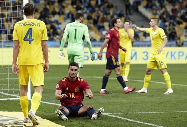 Hispaania ründajad peavad Kiievi-õhtu järel pikalt peeglisse vaatama. Foto: UEFA Nations League / Twitter