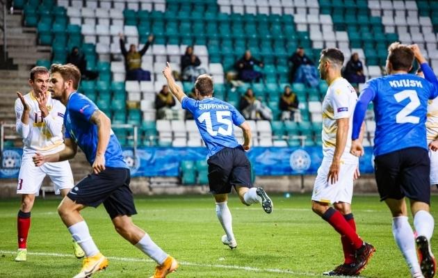 Eesti koondis alustas Rahvuste liigat kahe kaotusega, aga sai oktoobris kodus peetud mängudes kirja kaks viiki. Foto: Oliver Tsupsman