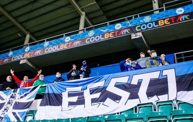Eesti jalgpallikoondise toetajad Rahvuste liiga mängul Põhja-Makedooniaga. Foto: Oliver Tsupsman