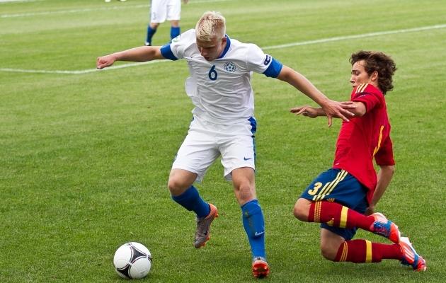 Bert Klemmer U19 EM-finaalturniiril Hispaania vastu mängimas. Foto: Hanna Odras