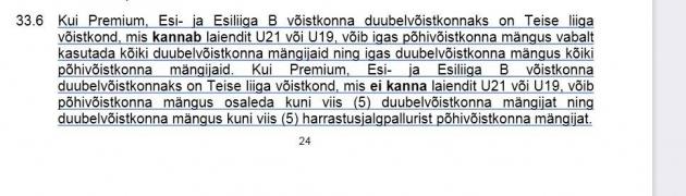 Pühapäevani liidu kodulehel rippunud madalamate liigade juhendi punkt 33.6. Foto: kuvatõmmis