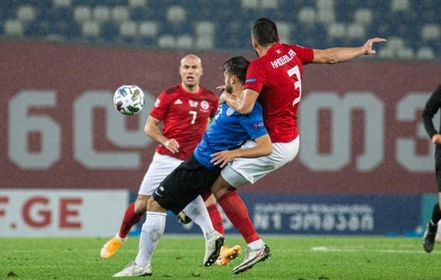 Eesti koondis mängis võõrsil Gruusiaga 0:0 viiki. Foto: Jana Pipar / jalgpall.ee
