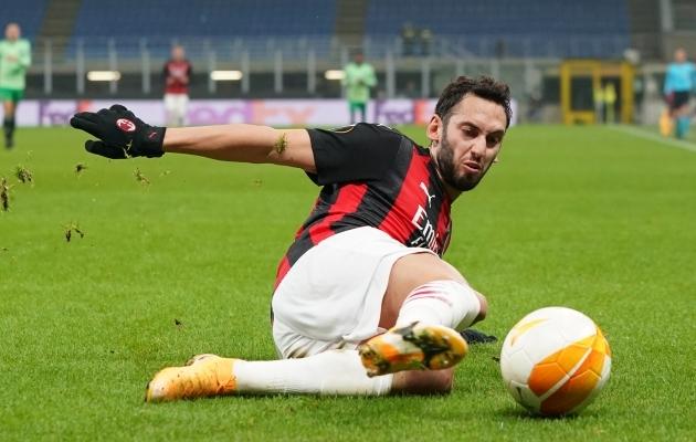 Hakan Calhanoglu värav algatas Milani tagasituleku. Foto: Scanpix / Spada / LaPresse / ZUMA Press